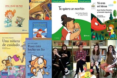 el escritor Juan Carlos Chandro con el grupo Ilusole y algunos de sus títulos
